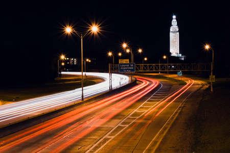 interstate light trails in Baton Rouge Louisiana Editorial