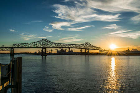sunset at the Mississippi River Bridge in Baton Rouge