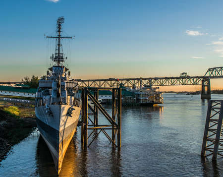 U.S.S. Kidd and Mississippi River Bridge in Baton Rouge