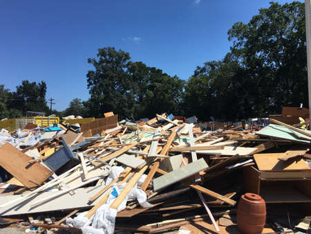 discarded building contents after flood recovery work