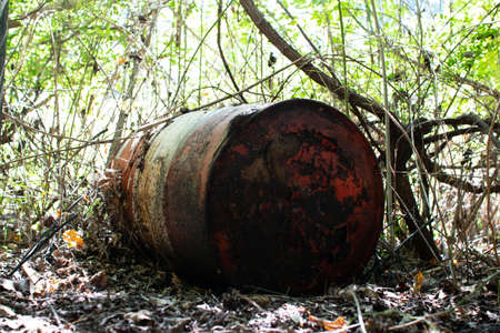 contaminated drum at abandoned school site