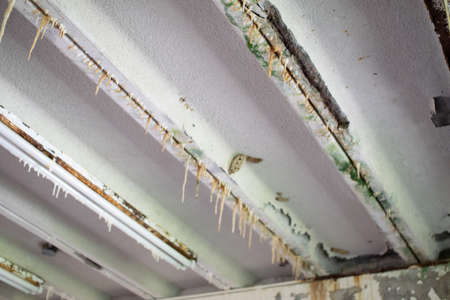 efflorescence on asbestos containing ceiling materials