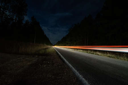roadside light trails in rural Louisiana