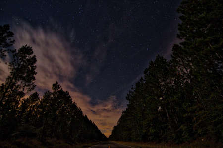 night sky in rural Louisiana from the highway centerline