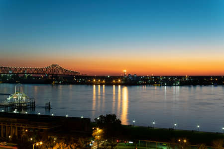 Blue Hour on the Mississippi River in Baton Rouge