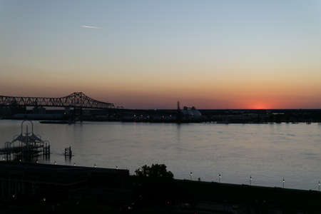 sunset on the Mississippi River in Baton Rouge