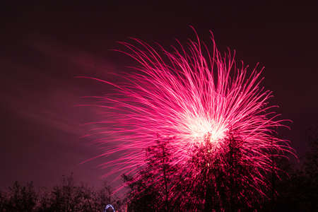 Bonfire night at Conkers in the National Forest Leicestershire. Photos taken from the main pathway outside the complex. Looking through the trees for framing of the firework display. 4 November 2017