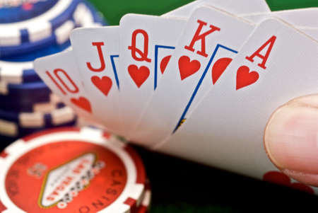 path to wealth: Peaking at cards to show a Royal Flush