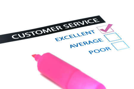 Excellent customer services tick box survey with pink highlighter. Stock Photo - 4558432