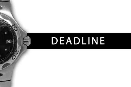 timeframe: Black deadline strap next to ticking watch.