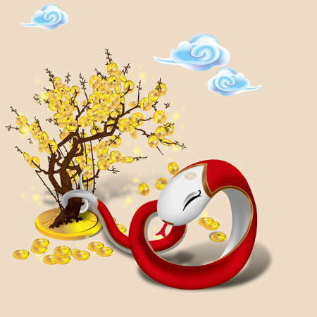 snake year: chinese zodiac - year of snake Illustration