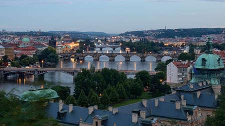 Prague cityscape at night, Czech republic - edited photo
