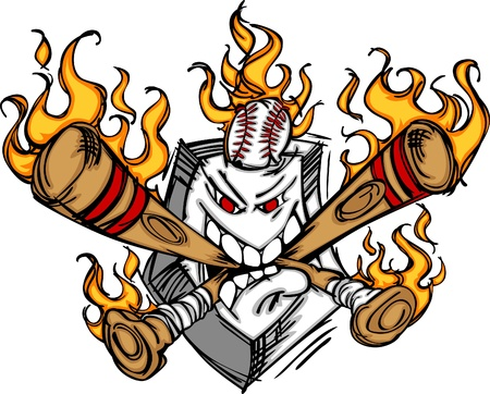 baseball cartoon: Softball Baseball Plate and Bats Flaming Cartoon Logo