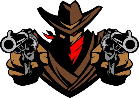 Cowboy Mascot Aiming Guns Vector