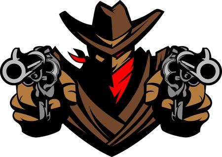 Cowboy Mascot Aiming Guns Stock Vector - 10242879