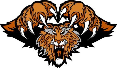집게발: 호랑이 마스코트 갑자기 달려 드는 그래픽 로고 일러스트