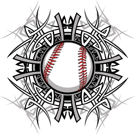 baseball game: Baseball Softball Tribal Graphic Image