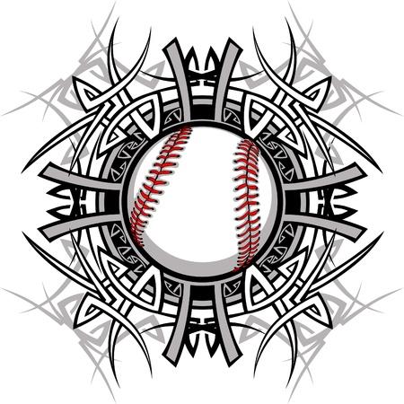Beisbol softbol tribales imagen gráfica Ilustración de vector