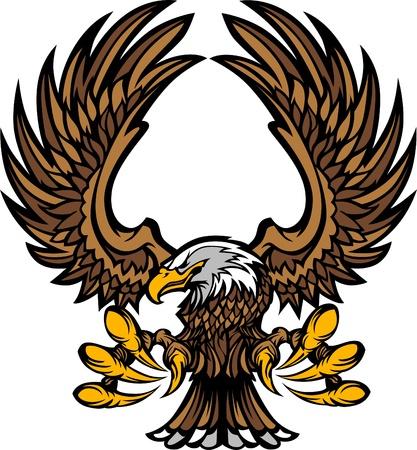 aguilas: Aguila alas y garras mascota logotipo Vectores