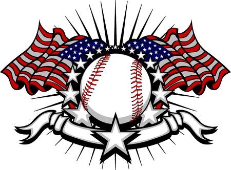 pelota beisbol: B�isbol con banderas y estrellas