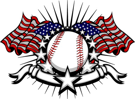 Honkbal met vlaggen en Stars