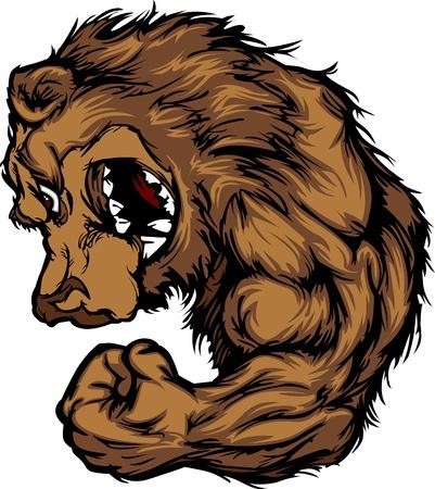 Bear Mascot Flexing Arm Cartoon Illustration