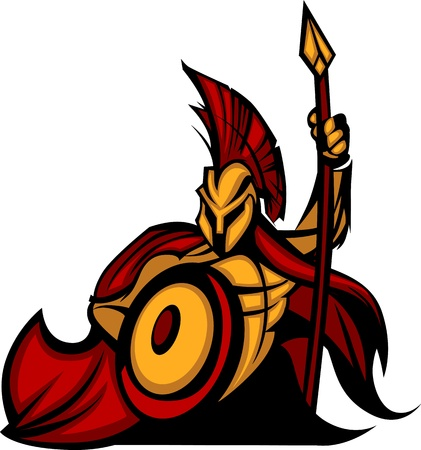 spear: Spartan Trojan Mascot with Spear Illustration