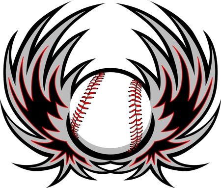 Honkbal met Wings Stock Illustratie