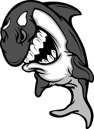 Killer Whale Mascot Cartoon Vector