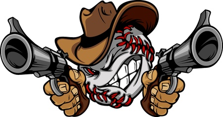 baseball cartoon: Baseball Shootout Cartoon Cowboy Illustration