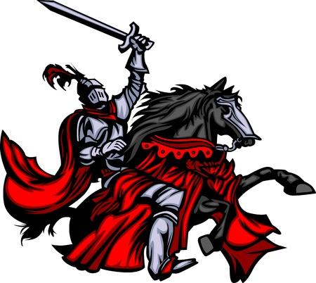 ritter: Ritter-Maskottchen auf Pferd Illustration