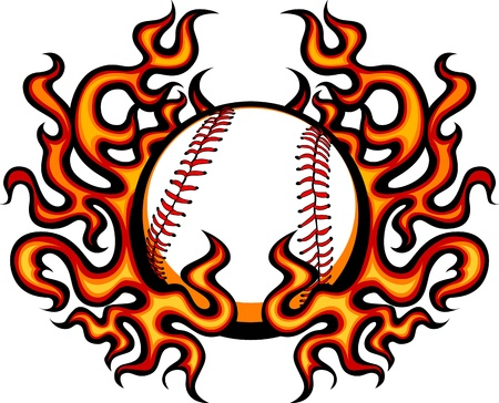 Baseball Template with Flames Stock Vector - 10303500