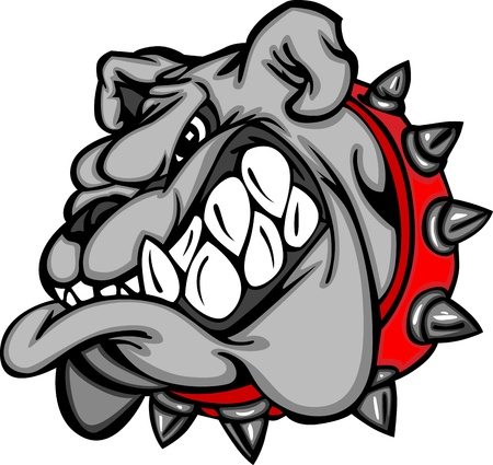 Bulldog Mascot Cartoon Face Illustration Vettoriali