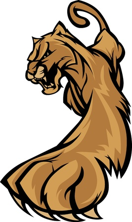 Cougar Mascot Body Prowling Graphic Vector