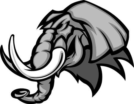 Olifant Mascot Hoofd Grafische Stock Illustratie