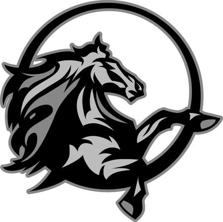 cabeza de caballo: Imagen de la mascota gráfica Mustang Stallion