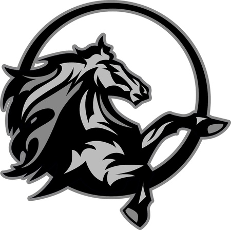 жеребец: Mustang Stallion Графические Mascot