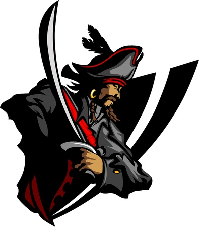 Pirate Mascot with Sword and Hat Graphic Illustration Vector