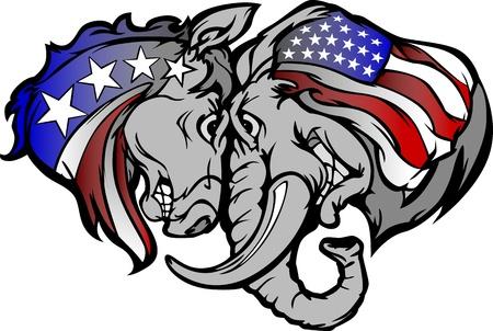 republican elephant: Political Elephant and Donkey Cartoon