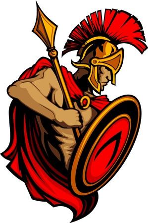 spartano: Mascotte di Troia spartano con lancia e scudo Vettoriali