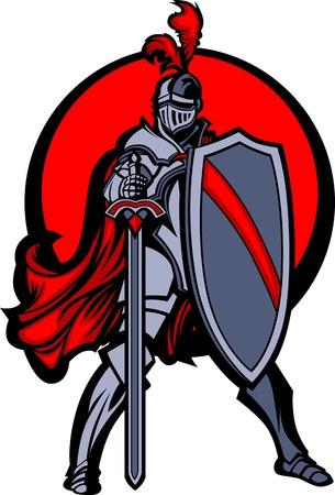 caballero medieval: Mascota de Caballero con espada y escudo