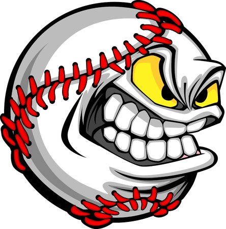 baseball cartoon: Baseball Face Cartoon Ball Image