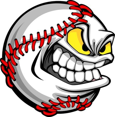 Honkbal Gezicht Cartoon Ball Afbeelding