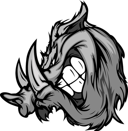 wild hog: Boar Razorback Cartoon Face Illustration