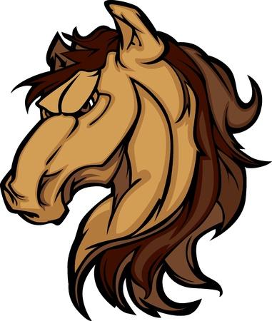 Mustang Hengst Mascot Cartoon Afbeelding