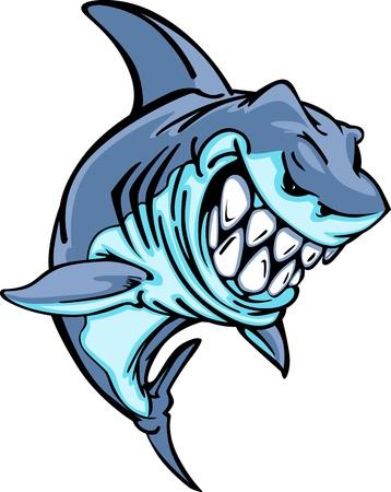 shark cartoon: Imagen de caricatura de mascota de tiburón