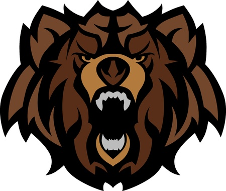 grizzly: Bear Grizzly Mascot Head Graphic