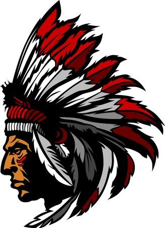 Indian Chief Mascot Head Grafische Vector Illustratie