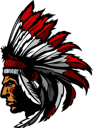 indian headdress: Indian Chief Mascot Head Graphic