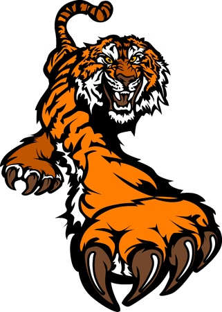 Tiger Mascot Body Prowling Graphic Vector